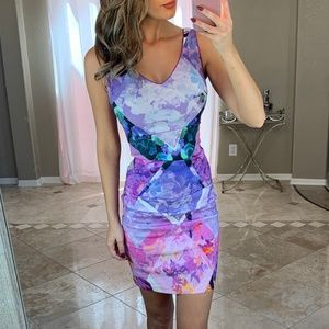 Nicole Miller Artelier Floral Sheath V Neck Dress